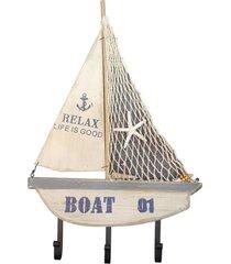 cabideiro barco boat 01 em madeira - multicolorido - dafiti
