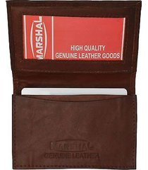 brown genuine leather expandable credit card id business card holder wallet new