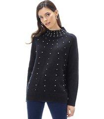 sweater brillos i mujer negro corona
