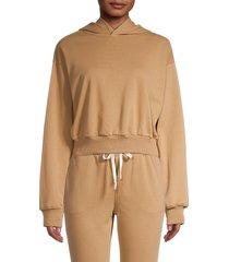 lea & viola women's cropped hoodie - tan - size m
