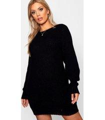 plus zachte gebreide trui jurk, zwart