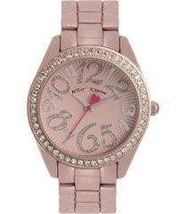 betsey johnson women's color spray light pink metal bracelet watch 40mm