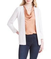 women's nic+zoe copper shine zip pocket knit jacket, size xx-large - ivory