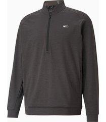cloudspun moving day golfsweater met kwartrits voor heren, zwart, maat s | puma
