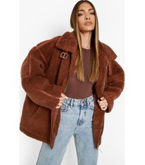 oversized teddy jas met gesp detail, camel