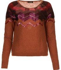 gebreide trui met pailletten madera  rood