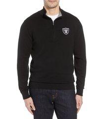 cutter & buck las vegas raiders lakemont regular fit quarter zip sweater, size 3xb in black at nordstrom