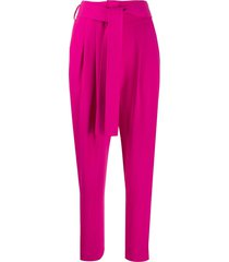 p.a.r.o.s.h. belted high waisted trousers - pink