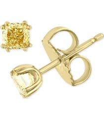 effy yellow diamond cushion-cut stud earrings (1/2 ct. t.w.) in 18k gold
