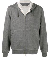 brunello cucinelli fine hooded cardigan - grey