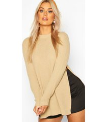plus side split moss stitch sweater, stone