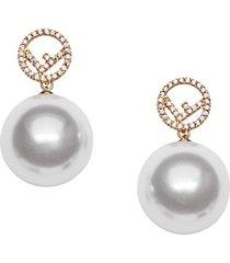 fendi f motif drop earrings - f18a4-soft gold +white +cr