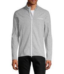 j. lindeberg men's emil waterproof zip jacket - stone grey - size l