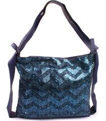 cartera mochila glitter azul mailea