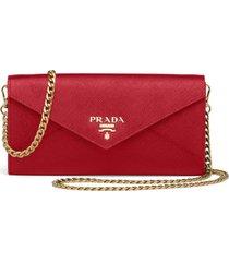 prada saffiano shoulder strap wallet - red