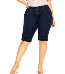 plus size women's city chic high waist denim shorts, size 24w - blue
