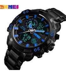 reloj multifuncional de doble pantalla para hombres-azul
