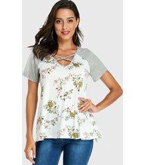 yoins blanco estampado floral aleatorio redondo cuello camiseta cruzada