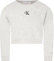 calvin klein grey sweatshirt for girl with logo