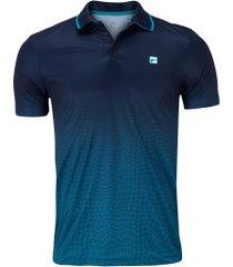 camisa polo fila aztec box net - masculina - azul escuro