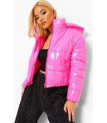 petite korte glanzende jas met capuchon, hot pink
