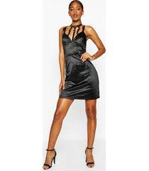 lange satijnen mini-jurk met gesp en stretch, zwart