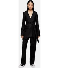 *black collarless wrap blazer by boutique - black