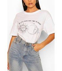 sun moon slogan t- shirt, white
