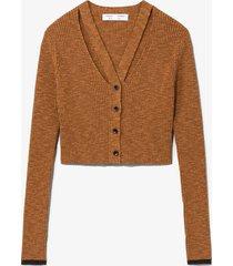 proenza schouler white label fine gauge rib knit crop cardigan chestnut/skyblue/orange xl