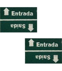 2 capachos p/ porta decorativo 60x40cm placa20 - verde - feminino - dafiti