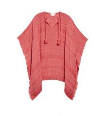 women's treasure & bond tassel trim poncho, size one size - coral