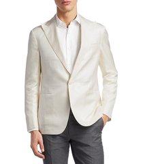 ralph lauren men's tonal houndstooth silk jacket - white - size 42 l