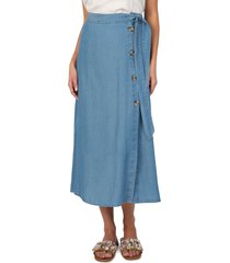 women's kut from the kloth ayla side button skirt, size large - blue