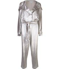 carolina ritzler relaxed-fit velvet jumpsuit - silver