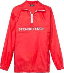 andrea crews straight edge wind breaker jacket - red