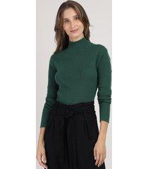 blusa feminina básica canelada manga longa gola alta verde escuro