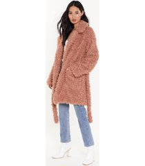 womens wish you fur here faux fur belted coat - rose