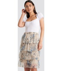 trendyol patterned midi skirt - beige