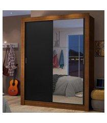guarda-roupa solteiro madesa dallas 2 portas de correr com espelho 2 gavetas marrom