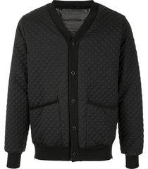 fumito ganryu quilted v-neck bomber jacket - black