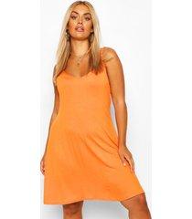 plus basic swing dress, orange