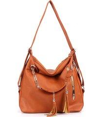 sacchetto di spalla dello zaino della borsa del pendente della nappa della pelle dell'unità di elaborazione delle donne retro
