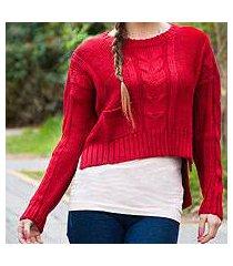 alpaca blend sweater, 'scarlet belle' (peru)
