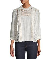 lace-trimmed mockneck blouse