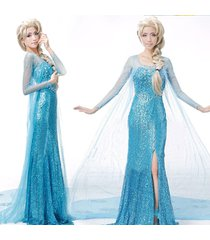 new!frozen snow queen elsa beauty blue lace dress cosplay costume party dress