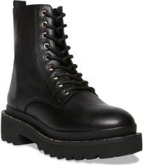 steve madden women's graham rhinestone-studded lug sole combat booties