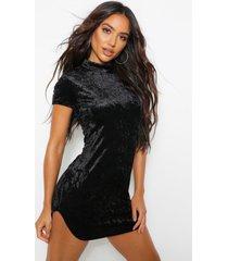 bodycon mini jurk met korte mouwen, zwart