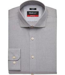 awearness kenneth cole men's awear-tech gray check slim fit dress shirt - size: 17 34/35