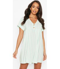 linen look v neck button smock dress, mint
