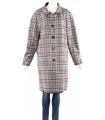 burberry gray black plaid cotton reversible coat black/gray sz: m